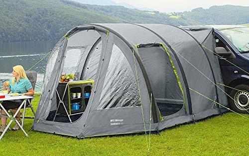 Berger Busvorzelt Touring-L Deluxe, grau, 3000 mm Wassersäule, freistehend nutzbar, Regenrinnenhöhe ca. 180-220 cm, Reisevorzelt Camping