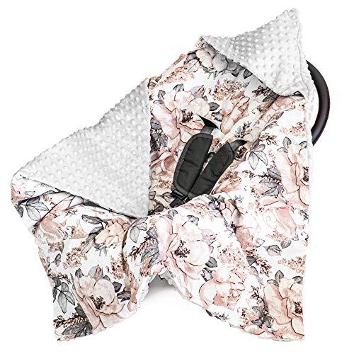Manta para bebé, 90 x 90 cm, manta universal para bebé, por ejemplo, para Maxi Cosi Buggy, asiento de coche de algodón y minky