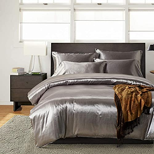 HYSENM Parure de lit Satin Lisse Housse de Couette avec Taie d'oreiller Confortable Soyeux Brillant Doux au Toucher, Gris 200_x_200_cm
