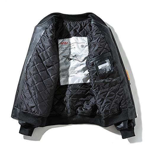 JYKING Herren Stehkragen Lederjacke Frühjahrs Herbst Militär Luftwaffe Bomber Jacke Freizeit Outdoor Mens Military Jacket Coat NASA