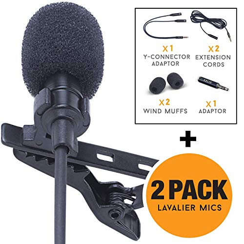 Lavalier Lapel Microphone 2-Pack Complete Set - Omnidirectional Mic for Desktop PC Computer, Mac,...