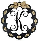 Letter K - Monogrammed Door Hanger | Mom Gift | Black and Burlap Everyday Year Letter Door Hanger
