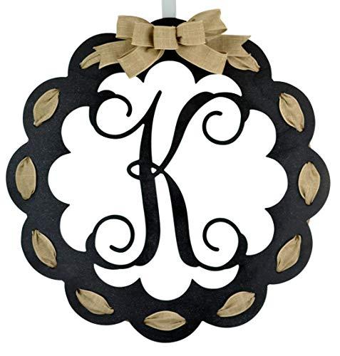 Monogrammed Door Hanger - Mom Birthday Gift - Black and Burlap Everyday Year Letter Door Hanger - MANY COLORS…