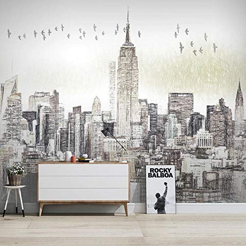 Custom Photo Wall 3D Hand Painted Black and White City Building Murals Living Room Dining Room Background Wall Decor Fresco - 450x300 Cm/177.2X118.1 Inch