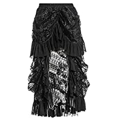 Black give people a sense of mystery The waist of this skirt is elastic Fabric: Lace + Cotton + Polyester Package Included: 1x Punk skirt Please pay attention to the size in the left,the picture showing is right,Not the Amazon size chart