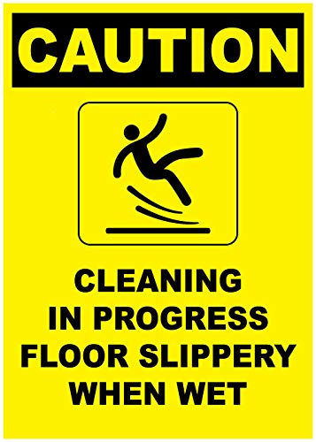 Caution Cleaning in Progress Yellow Sticker Decal 8