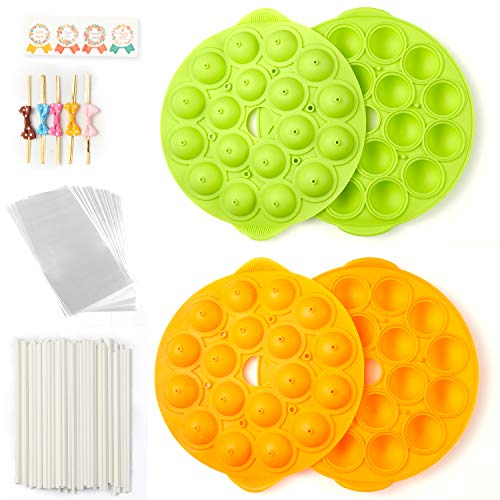 Cake Pop Maker Set with Molds Silicone, 100 Paper Lollipop Sticks 6 inch, 100 Cake Pop Bags 100 Gold Bow Ties Twist in Mix Colors, 100 Handmade Label Sticker (Pack of two Molds (Orange + Green))