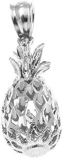 14K Solid White Gold Hawaiian Diamond Cut Pineapple Charm Pendant 6.5mm