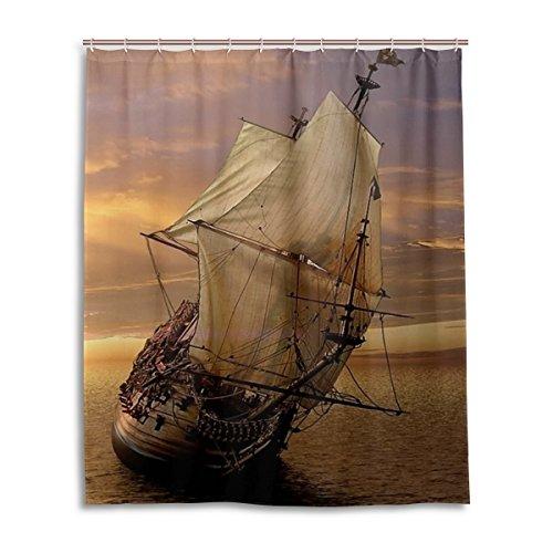 LIANCHENYI Cool Sunset Ocean Sail Schiff Wasser Bad Vorhang 100prozent Polyester Stoff Home Dekorative Badezimmer Dusche Vorhang 152,4x 182,9cm