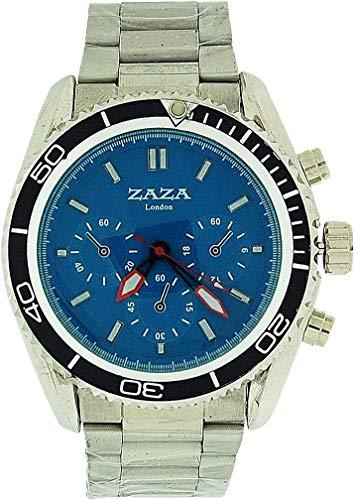 ZAZA London MMB234 pnp/blue - Orologio da polso da uomo, cinturino in metallo colore argento