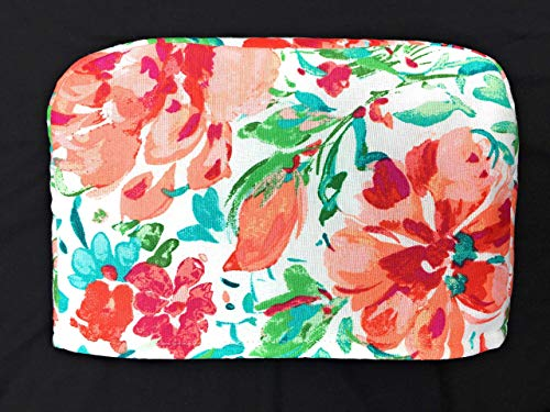 2 Slice Slot Peach Pink Floral Flowers with Teal Turquoise Green Leaves on White Reversible Toaster Appliance Dust Cover Cozy 11.5(l) x 7.5(h) x 5.5(w)