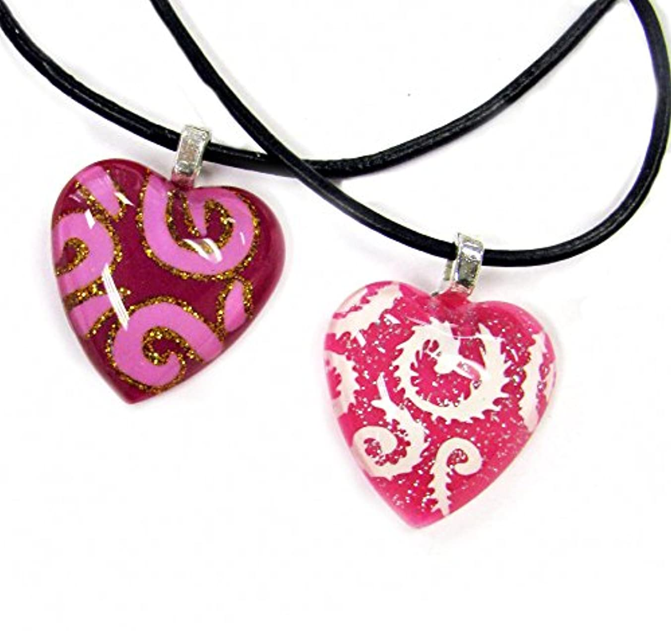Linpeng BRO-04/05 Curvy Pattern Puffy Heart with Curvy Patterns Fiberglass Pendants with Black Cord Necklaces (2 Pack)