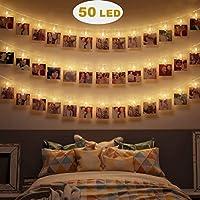 50 clips photo LED guirlandes lumineuses : 50 clips photo transparents, longueur totale est de 5M. Chaque ampoule LED est équipée de clips transparents et émet une superbe lumière blanche chaude. Mode à piles et 3 modes d'éclairage (toujours allumé /...