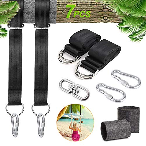 CMHSP Tree Swing Straps Sets 5 Ft Tree Swings Hanging Straps Kit with Duty Safety Lock Carabiners & Swivel Fits Holds 2000 lbs for Disc Swings, Hammocks Outdoor Swings
