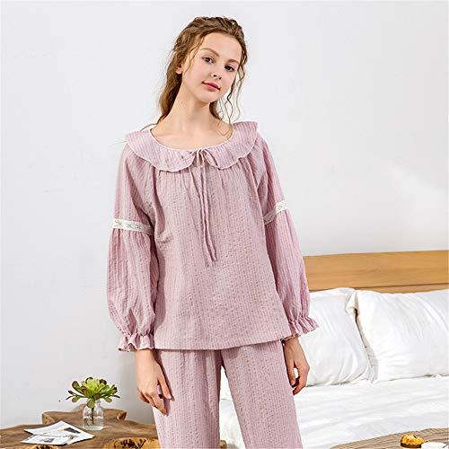 YoLiy Womens Nightwear Ladies Pajamas Set Womens Loungewear 2 Pcs Nightwear Soft Cotton Long Sleeves Nightie For Winter Nightwear (Color : Pink)