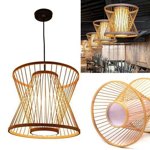 Moderno bambú ratán luces accesorio bambú mimbre lámpara cesta lámpara lámpara colgante techo sombra decoración
