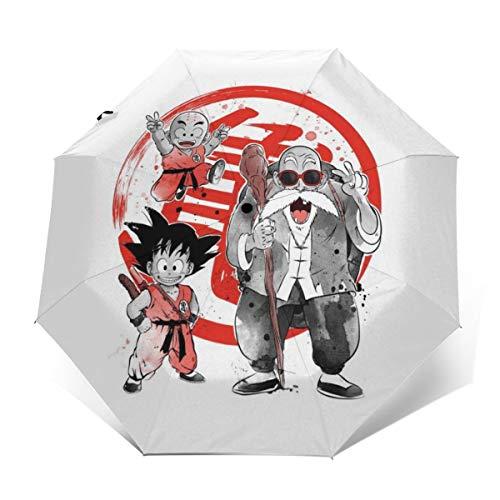 Dragon Ball Z Master Roshi Krillin Goten Sumie Paraguas Plegable Compacto de Apertura y Cierre automático, Plegable