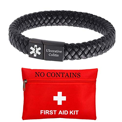 ForeverWill Free Customized Medical First Aid Bracelets for Women Men Magnetic Leather Ulcerative Colitis Alert ID Wristband for Emergency,Black