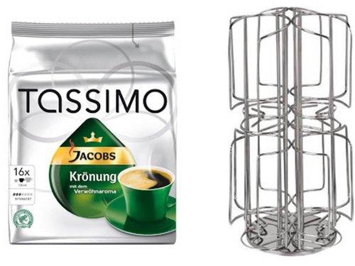 Tassimo Jacobs Krönung 1 Packung 16 T-Disc + dem neuen Kaffee-Kapselhalter für Tassimo 48 Disc