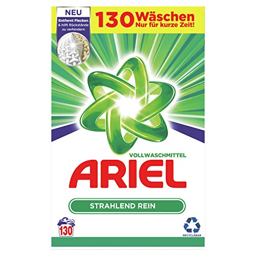 Ariel Waschmittel Pulver Waschpulver, Vollwaschmittel, Strahlend Rein, 130 Waschladungen (8 kg)