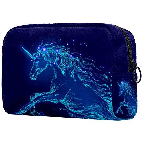 Bolso de Cosméticos Neceser de Viaje para Mujer y Niñas Organizador de Bolso Cosmético Accesorios de Viaje Estuche de Maquillaje Unicornio Caballo Azul 18.5x7.5x13cm
