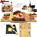 Bamboo Cheese Plate and Knife Set Extra-Large Charcuterie Board.Excellent Wedding Housewarming Gifts.The Cheese Board includes a Rock Tray,2 Sliding Drawers,4 Cheese Knvies and 6 Forks