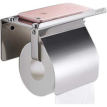 (2本入り)304ステンレス製 棚付き 紙巻器 トイレットペーパー ホルダー 壁掛け式 トイレ ティッシュ ホルダー 浴室ティッシュホルダー 携帯電話ストレージシェルフ ねじ取り付け