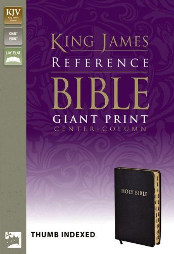 KJV, Reference Bible, Giant Print, Bonded Leather, Black, Indexed, Red Letter Edition (King James Reference Line)