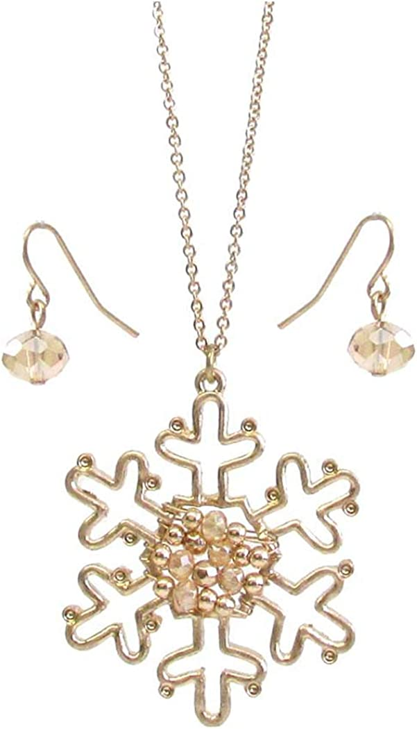 Fashion Jewelry ~ Snowflake Pendant Goldtone Necklace and Earrings Set for Women Teens Girlfriends Birthday Gifts