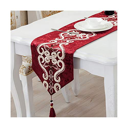 Rubyia Runner Dining Table, Embroidery Flowers with Tassels Table Runners for Home Dining Parties Table Decor, Cloth, 33 x 160 cm (13' x 62'), Red