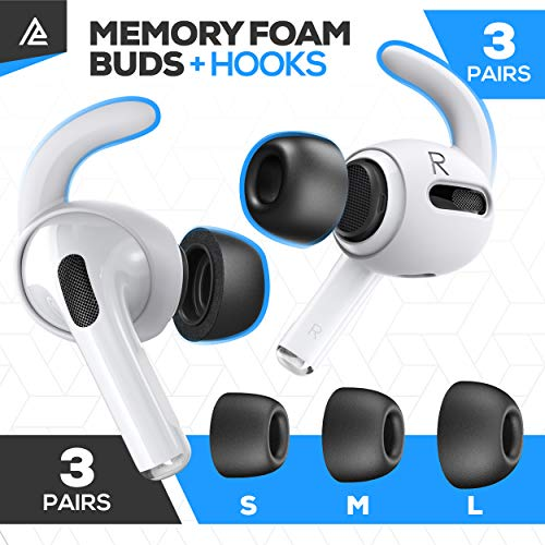 for AirPods Pro and Memory Foam Ear Tips for AirPods Pro 3 Pairs White Hooks 3 Pairs S, M, L Black Buds Ear Hooks Accessorie