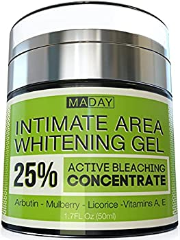 Intimate Whitening Cream - Made in USA Skin Lightening Gel for Body Face Bikini and Sensitive Areas - Underarm Bleaching Cream with Mulberry Extract Arbutin Licorice Extract - 1.7oz