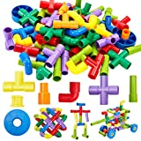 Onshine 72 Piezas Tubo Construcción Bloques Niños Bricolaje Coche Robot Bola Juegos Puzzle Rompecabezas Educativo Juguetes para Niños Niñas Infantil 3 4 5 Años