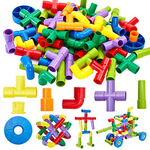 Onshine 72pcs Pipe Building Block Bricks Plugging Toy Assemble Car Construction Toy for 3 Year Old Kid