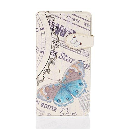 SHAGWEAR ® Portemonnaie Geldbörse Damen Geldbeutel Mädchen Bifold Mehrfarbig Portmonee Designs: (Vintage Zeit Stück/Vintage Time Piece)
