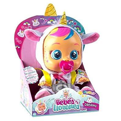 Bebés Llorones Fantasy Dreamy Unicornio - Muñeca interactiva que llora de verdad con chupete y pijama brillante (IMC Toys)
