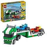 LEGO Creator 3 in 1 Trasportatore di Auto da Corsa con Rimorchio, Gru e Rimorchiatore, Costruzioni per Bambini, 31113