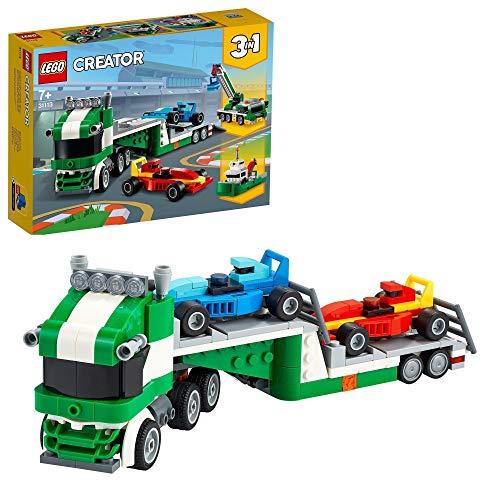 LEGO 31113 Creator 3-in-1 Rennwagentransporter mit Anhänger, Kran und Schlepper, Bauset