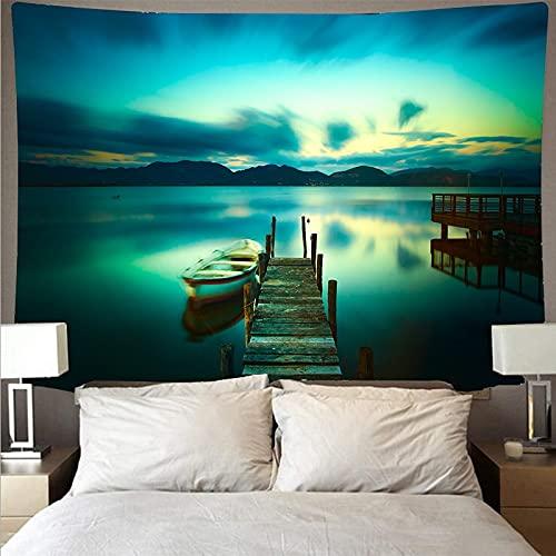 Hermoso bosque río paisaje barco tapiz arte psicodélico colgante de pared playa mandala alfombra decorativa tapiz A4 73x95cm