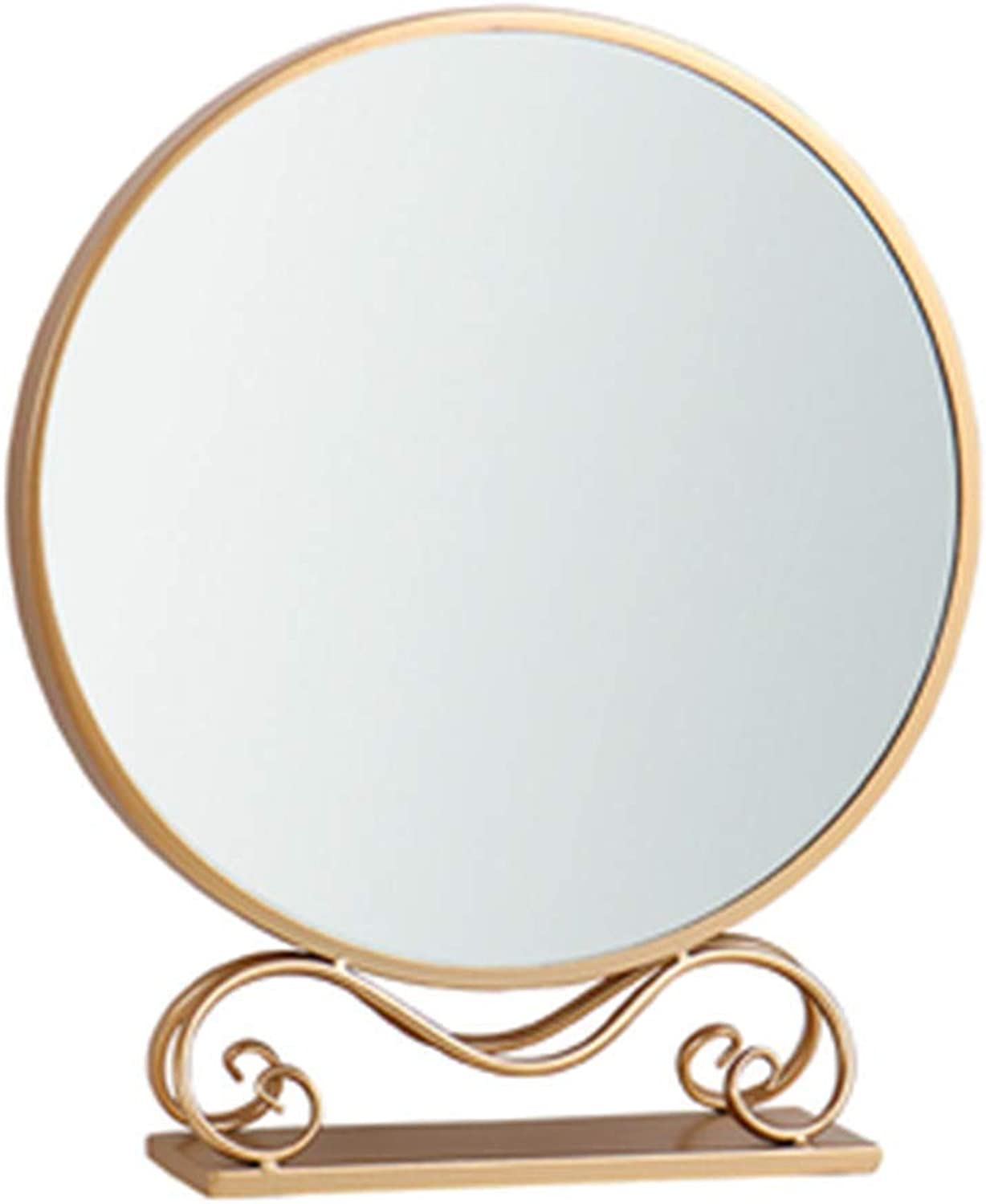 Nordic Makeup Mirror, Desktop Home Desktop Mirror, Wrought Iron Wall Mirror, Net Red Ins, Round Dresser Mirror, Clear Mirror, Smooth Paint, No Paint, No Fade,gold,59  30cm