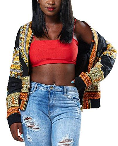 Remelon Womens African Print Classic Zipper Biker Bomber Jacket Short Coat Black S