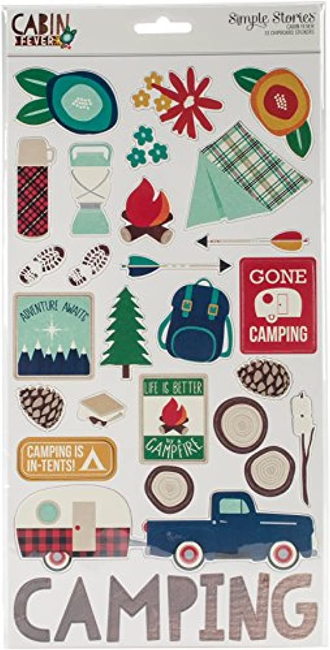 Simple Stories Cabin Fever Chipboard Stickers