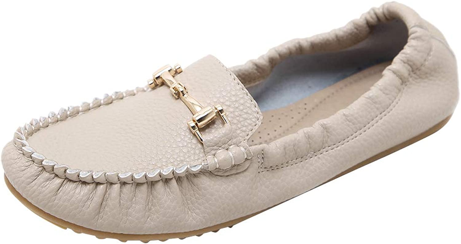 AGOWOO Womens Vintage Moccasins Elastic Flat Loafer shoes