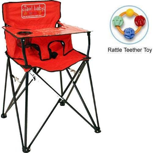 Best Prices! ciao baby - Portable High Chair with Rattle Teether Toy - Red