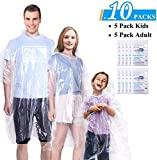 GINMIC Ponchos Family Pack Clear - 10 Pack Rain Ponchos for Kids and Adults, Clear Ponchos with Hood, Disposable Emergency Rain Ponchos for Family Travel, Camping, Hiking, Fishing, Backpacking