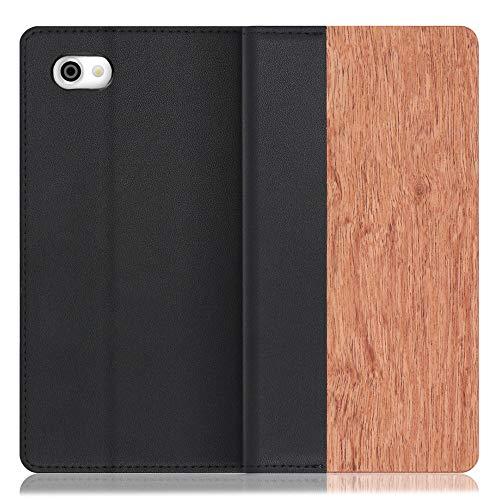 LOOF Nature AQUOS R/SH-03J / SHV39 ケース 手帳型 カバー 本革 天然木 ベルト無し ウッド 木製 木 カード収納 カードポケット 本革 高級 スタンド機能 手帳型ケース スマホケース (花梨)