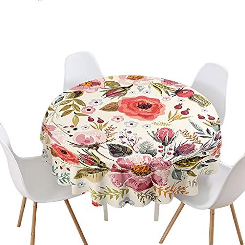 Highdi Impermeable Mantel de Redondo, Antimanchas Lavable Manteles 3D Estampado Flores Moderno Decoración para Salón Cocina Comedor Mesa Exterior (Vintage,Redondo 200cm)