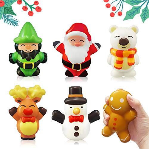heytech 6 Packs Squishies Toys for Christmas Slow Rising, Christmas Pack: Santa, Reindeer, Snowman, Polar Bear, Gingerbread Man, St. Patrick, Party Favor for Kids