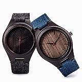 yuyan 2 unids Sandalwood Watch Reloj Minimalista Creativo sólido Reloj de Madera japonés Movimiento Lienzo Correa Transpirable y cómodo Romance Libertad Amor Arte Reloj de Vacaciones
