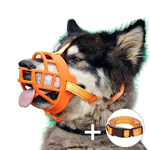 """Dog Muzzle, Soft Silicone Basket Muzzle for Dogs, Allows Panting and Drinking, Prevents Unwanted Barking Biting and Chewing, Included Collar and Training Guide (1 (Snout 7-8""""), Orange)"""